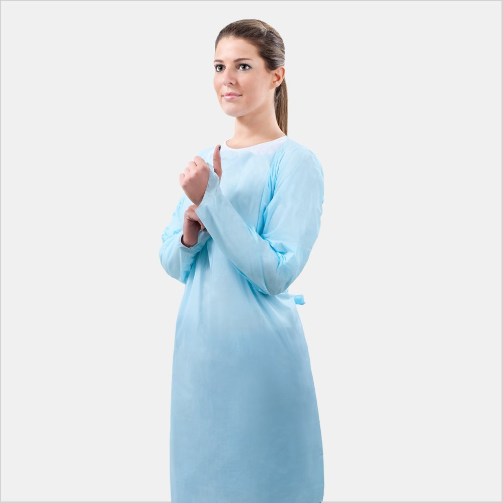 Tonex Over-the-Head PE Gown with Thumb Hook, Fluid Resistant, Soft Blue, Unisize (10)