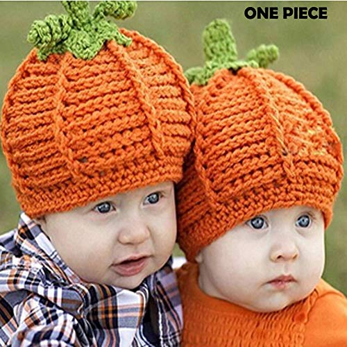 Crochet Pumpkin Hat - Baby Girls Boys Winter Hat Scarf Earflap Hood Scarves Caps (Pumpkin Baby Hats for 0-3 Months)