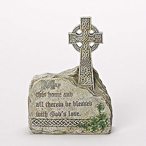 Joseph Studio Bless This Home Celtic Cross in Rock Outdoor Garden Statue Figurine 66041 ()