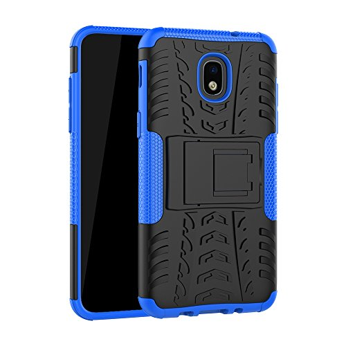 (Galaxy J3 2018 Case, Folice [Shockproof] Hybrid Rugged Soft Rubber Hard PC Tough Dual Layer Protective Case Cover with Kickstand for Samsung Galaxy J3 Star/J3 Achieve/Express Prime 3/Amp (Blue))