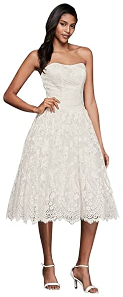 David\'s Bridal Short Lace Strapless Wedding Dress with Ruching Style ...