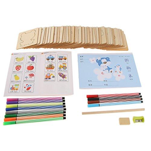 Fenteer 56点セット 絵画 テンプレートツール キット 子ども DIY 描画 手工 ユニバーサル おもちゃ