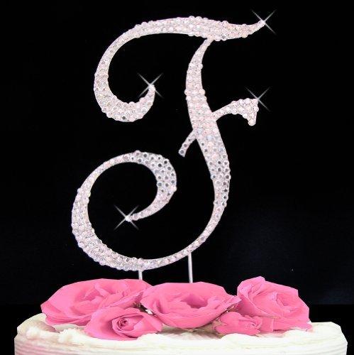 (Letter F - Swarovski Crystal Monogram Wedding Cake Topper Letter)