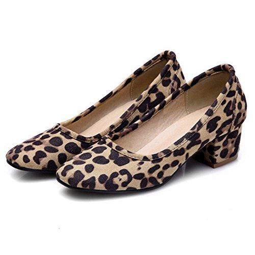 Block Heels Court Shoes Mid Coolcept Leopard Fashion Pumps Women's E74YqqBwI