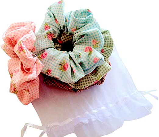 Cotton Blue and Cream Rose Print Hair Scrunchie