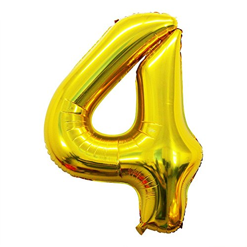 2 Pcs 42 Inch Gold Foil Balloons Number 4 by GOER,Number Balloons for Party