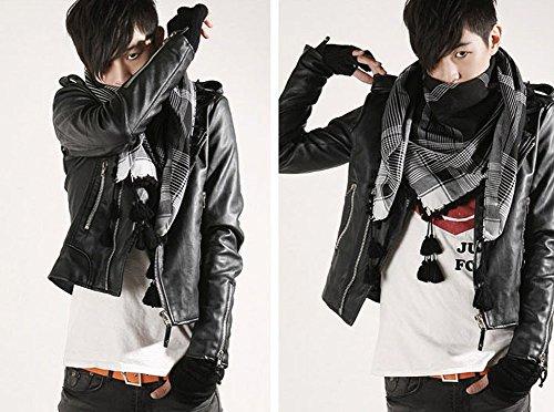 Negro PU de Chaqueta de cazadora chaqueta motociclista larga manga vintage cuero hombre para 64xwXS7qB