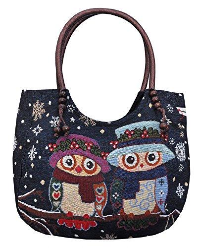 Borsetta borsa da spiaggia, shopping, importata da Tailandia, multicolore, motivi Gufi (42262)
