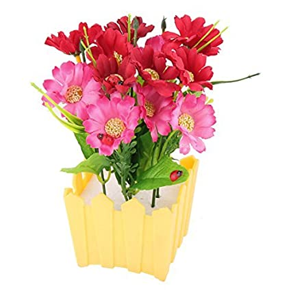 eDealMax plástico maceta Ventana Offfice estante Flor Artificial decorativa Multicolor