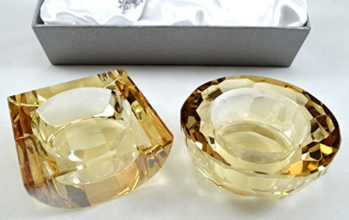 Oleg Cassini Iridescent Honey Crystal Votive Holders - Set of 2 - Satin Lined Gift Box