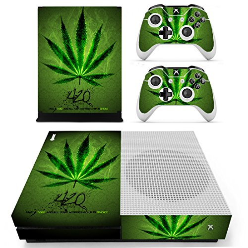 Chickwin Xbox One S Skin Vinyl Decal Full Body Cover Sticker For Microsoft Xbox One S Console and 2 Controller Skins (Green Leaf)