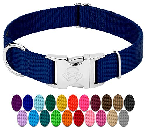Country Brook Petz - Premium Nylon Dog Collar with Metal Buckle - Vibrant 22 Color Selection (Medium, 3/4 Inch Wide)