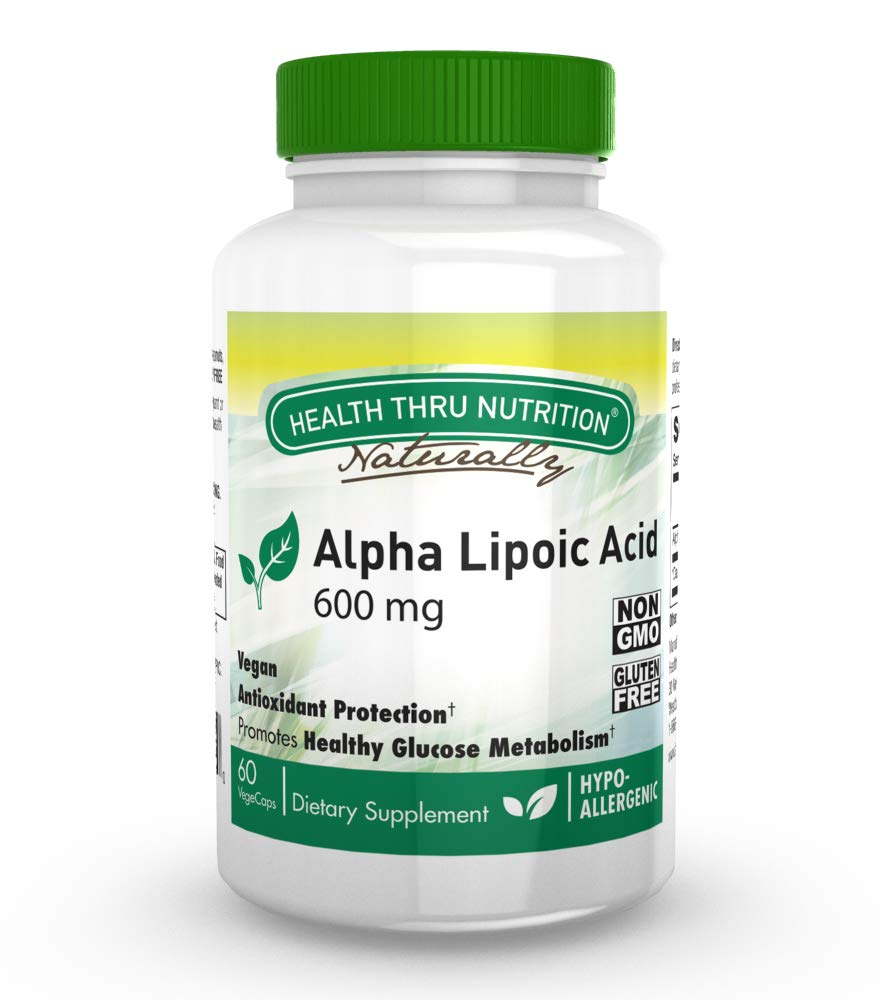 Alpha Lipoic Acid (ALA) 600mg 60 Vegecaps - Vegan, Non-GMO, Gluten Free, Hypoallergenic and Free from Common excipients Such as Magnesium Stearate and Silica, by Health Thru Nutrition.