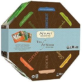 Numi Organic Tea By Mood Gift Set, Tea Gift Box, 40 bags, Assortment of Premium Organic Black, Pu-erh, Green, Mate, Rooibos, Herbal Tea Variety Pack, Non-GMO Biodegradable Tea Bag (Packaging May Vary)