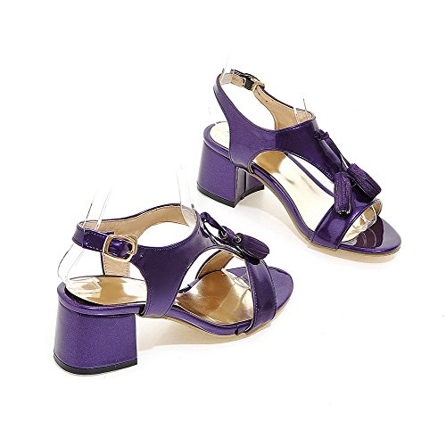 WeenFashion Open Sandals Toe Purple Solid Women's Heels Kitten Buckle PqrPwTR