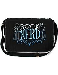 Dancing Participle Book Nerd Embroidered Black Messenger Bag