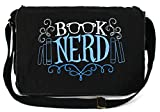 Dancing Participle Book Nerd Embroidered Black Messenger Bag