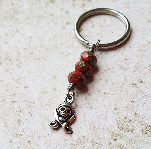 Pirate Skull Keychain with Stainless Steel Keyring (Scallywag Pirate)