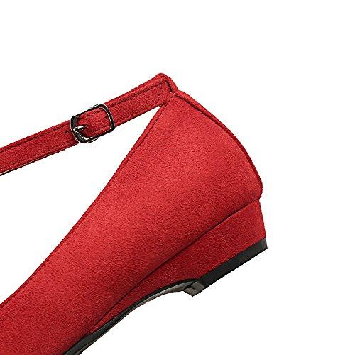 Punainen Mokka kengät Suljetun Pumput Solki Voguezone009 Jäljitelty Naisten Matalan Selin Toe Cxppvqw1W