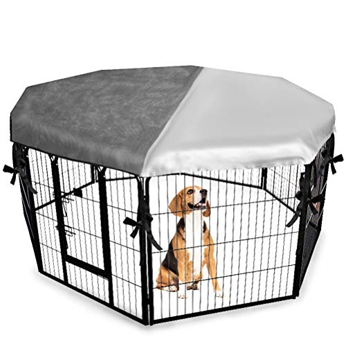 "EXPAWLORER Dog Crate Cover for Outdoor and Indoor- Half Mesh Half Shaded Type Light Blocking Breathable Shade Kennel Cover, Fits 24"" Crate with 8 Panel"