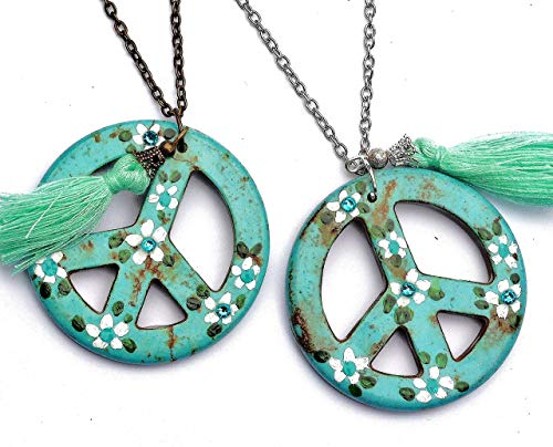 Handmade Large Hippie Peace Sign Pendant Necklace with Hand Painted Flowers and Dangling Tassel ()