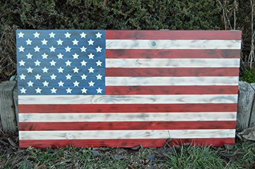 Wooden Flag ,Large 37x19.5 Rustic burned red white and blue burnt american wooden flag,FREE SHIPPING by Custom Wood Flags