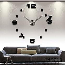 3D DIY Wall Clock, Timelike Modern Frameless Large 3D DIY Wall Clock Kit Decoration Home for Living Room Bedroom (Silver) (Black)