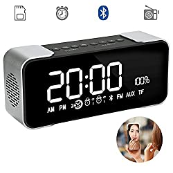 Bluetooth Alarm Clock Speaker Portable Wireless Stereo Hi-Fi Speaker Bluetooth 4.2 Speaker with Digital Radio Alarm Clock Loudspeakers Super Bass Support TF Card and Large Mirror LED Dimmable Display