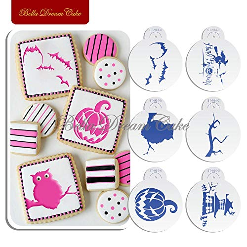 1 lot Halloween Owl bat Cookies Stencils Set Coffee Stencil Template Fondant Chocolate Biscuit Cake Mold Cake Decorating Tool Bakeware]()