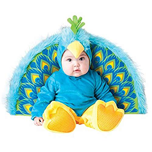 Halloween Costumes for Baby Boys Girls,Infant Toddler's Cartoon Animals Christmas Dress Up Costume Outfit Romper (Peacock,80cm(6-12month))