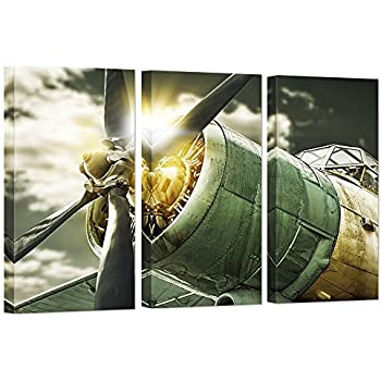 HOMEOART Plane Wall Art Vintage Airplane Aircraft Engine Picture Prints on Canvas Teen Boys Bedroom Living Room Decor 16