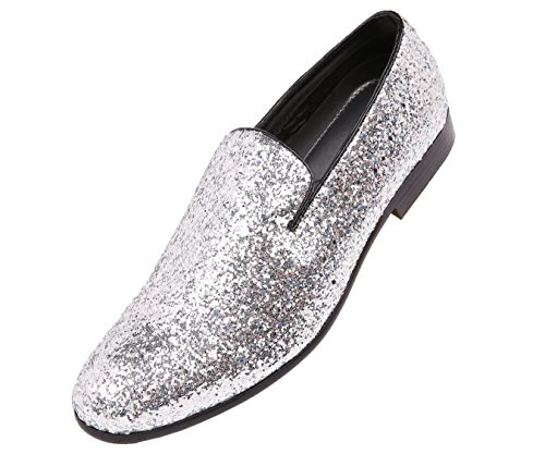 Smoking Tuxedo Glitter Amali Mens Shoe Slip Sparkling Silver Dress Slipper Metallic on fxBqn0a