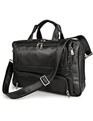 BAIGIO Mens Leather 17 Laptop Business Briefcase Shoulder Tote Bag Portfolio Satchel (Black)