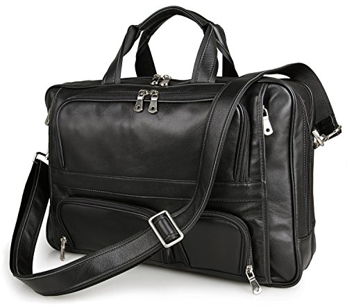 BAIGIO Men's Leather 17'' Laptop Business Briefcase Shoulder Tote Bag Portfolio Satchel (Black) by BAIGIO