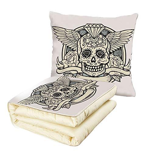 (iPrint Quilt Dual-Use Pillow Sugar Skull Decor Illustration of Calavera Diamond Figure and Roses Vintage Revival Decorative Multifunctional Air-Conditioning Quilt Cream Grey Black)