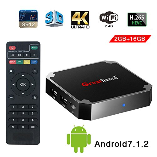 Greatlizard Android 7.1.2 X96 Mini TV Box Quad Core 2.4G Wifi 4K HD Support VP9 HEVC Decoding(2GB Ddr3 + 16GB EMMC) by Greatlizard