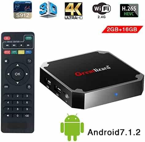 Greatlizard Android 7.1.2 X96 Mini TV Box Quad Core 2.4G Wifi 4K HD Support VP9 HEVC Decoding(2GB Ddr3 + 16GB EMMC)