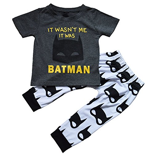[Baby Boys Batman Short Sleeve T-shirt and Graphics Pants Outfit] (Cute Santa Outfits)