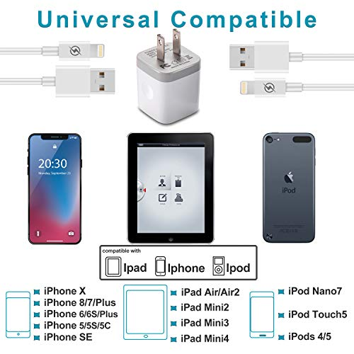 iPhone Charger, DENWAN Dual USB Wall Adapter Plug Block 2.1A/5V with 2-Pack (6ft / 3ft) Fast Charging Cable for iPhone X/8/7/6S Plus SE/5S/5C, iPad, iPod by DENWAN (Image #1)