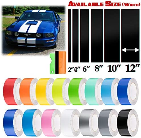 EZAUTOWRAP Free Tool Kit 2 Wide 10FT Long Gloss Glossy White Racing Stripes Vinyl Wrap Rally Decals Stripe Sticker