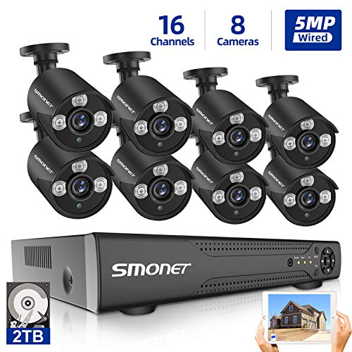 16 Channel Home Security Camera Systems SMONET 5-in-1 5MP DVR Camera Systems 2TB Hard Drive, 8 Wired 5MP Indoor Outdoor Waterproof Surveillance Cameras with Night Vision Free APP Easy Remote to Acces