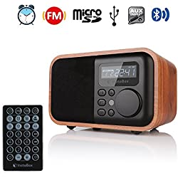 InstaBox i90 Upgraded Wooden Digital Multi-Functional Speaker with Bluetooth FM Radio Alarm Clock MP3 Player, Supports Micro SD/TF Card and USB with Remote Control, Brown Wood
