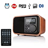 InstaBox i90 Upgraded Wooden Digital Multi-Functional Speaker Bluetooth FM Radio Alarm Clock MP3 Player, Supports Micro SD/TF Card USB Remote Control, Brown Wood