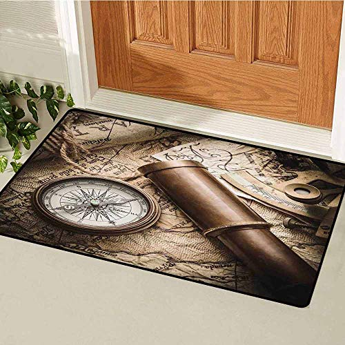 GloriaJohnson Compass Inlet Outdoor Door mat Vintage Still Life with Compass Sextant Spyglass Old Map Marine Life Artwork Print Catch dust Snow and mud W19.7 x L31.5 Inch Brown Beige