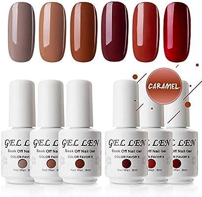 Gellen Uv Led Gel Nail Polish Set Caramel Colors Series 6