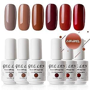 Gellen Gel Nail Polish Kit – Coffee & Red Wine Tones , Trendy Earthy Browns Burgundy Palette Nail Art Gel Colors, Home…