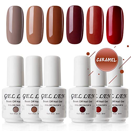 Gellen Gel Polish Set Caramel Colors Series - 6 Colors 8ml Each