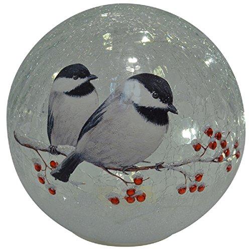 Mark Feldstein Crackle Glass Globe 6 IN Chickadee (Crackle Glass Globes)