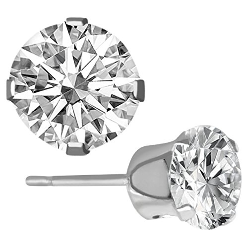 alexys•ryan Cubic Zirconia CZ Stud Earrings – 925 Sterling Silver Plated Round Cut for Women & Girls