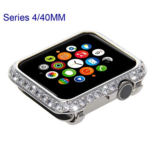 Sparkling Bling-Bling Diamond Jewelry Watch Case Handcrafted Compatible with Newest Apple Watch Series 4 Generation (Platinum White Crystals) (40mm / Platinum Diamond)